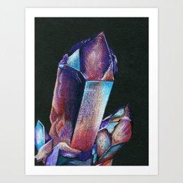 Crystals on Black Art Print
