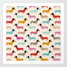 Sweet retro dachshund doxie puppy pattern Art Print