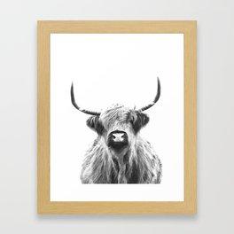 Black and White Highland Cow Portrait Framed Art Print