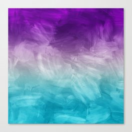 Purple Aqua Teal Ombre Pattern Watercolor Painting Canvas Print