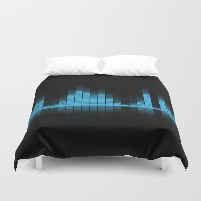 Blue Graphic Equalizer on Black Duvet Cover