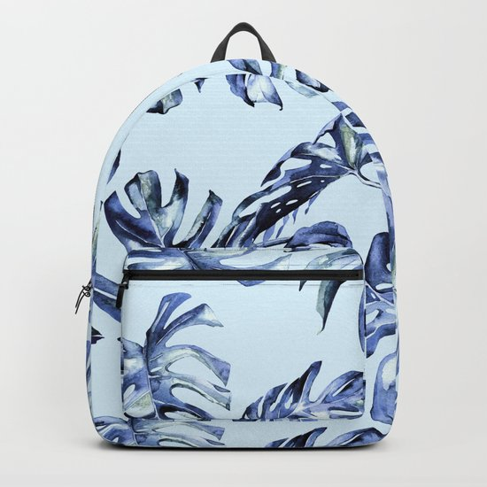 Tropical Palm Leaves Blue Backpack