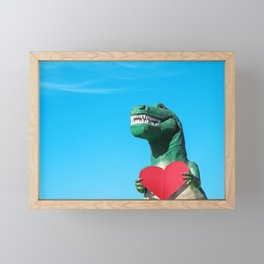 Tiny Arms, Big Heart: Tyrannosaurus Rex with Red Heart Framed Mini Art Print
