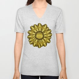 """Gold"" Gazania Flower Special Edition 2 (Clear Back) Unisex V-Neck"