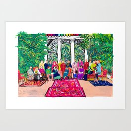 This is not a Party: Brightly colored painting of a group of people in a gigantic greenhouse with rugs and rainbow clothing Art Print