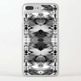 B&W Watercolor Ikat Clear iPhone Case
