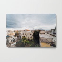 View of Naples with clouds Metal Print