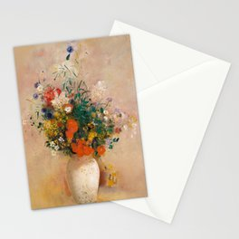 "Odilon Redon ""Vase of Flowers (Pink Background)"" Stationery Cards"