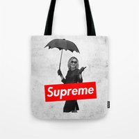supreme Tote Bags featuring The Supreme by Dandy