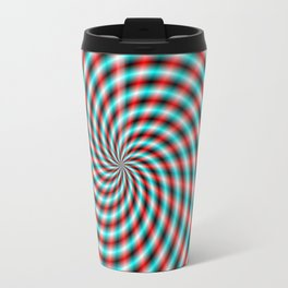 Turquoise and Red Spiral Rays Travel Mug