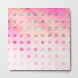 Pink Pastel Grunge Polka Dots Metal Print