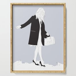 Winter Fashion Girl in the Snow Serving Tray