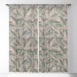 Calathea Leaves Pattern- Pink Green Gray Sheer Curtain