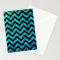 Chevron Aqua Sparkle Stationery Cards