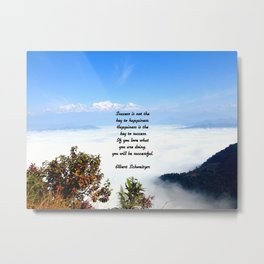 Happiness Is The Key To Success Uplifting Inspirational Quote With Blue Sky Filled With Clouds Metal Print