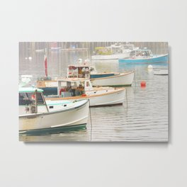 Lobster Boats In Bass Harbor Mount Desert Island Maine  Metal Print