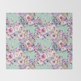 Mint SO LUSCIOUS Painterly Floral Throw Blanket