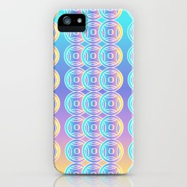 Ancient Chinese Money Stock Geo Pattern Ombre Green Blue Purple Yellow 2 iPhone Case