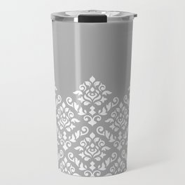 Damask Baroque Part Pattern White on Grey Travel Mug
