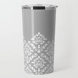 Damask Baroque Part Pattern White on Grey Travel Mug