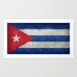 Cuban national flag- vintage retro version Art Print