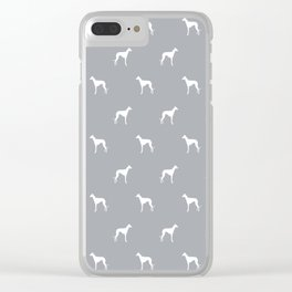 Whippet dog pattern silhouette dog breed minimal grey and white whippets Clear iPhone Case