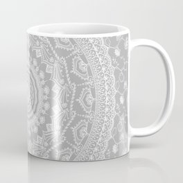 Secret garden mandala in soft gray Coffee Mug