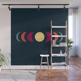 Minimal Abstract 70s Retro Style Moon Phase - Chikayu Wall Mural