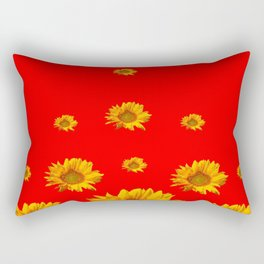 FLOATING GOLDEN YELLOW SUNFLOWERS RED COLOR Rectangular Pillow