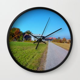 Country road and beautiful panorama   landscape photography Wall Clock