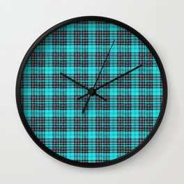 Lunchbox Blue Plaid Wall Clock