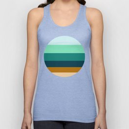 Teal Turquoise and Suede Geometric Pattern Unisex Tank Top