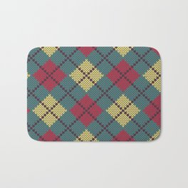 Faux Retro Argyle Knit Bath Mat