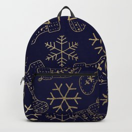 Navy blue and faux gold foil Christmas snowflakes stockings  Backpack