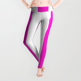 Hot magenta pink - solid color - white vertical lines pattern Leggings
