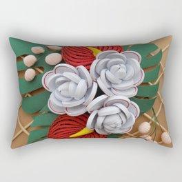 Anthurium Rose Flowers Paper Quilling Rectangular Pillow