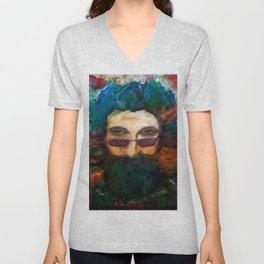 Jerry Garcia Watercolor Portrait Grateful Dead Unisex V-Neck