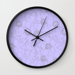 Australian Waxflower Line Floral in Lilac Wall Clock