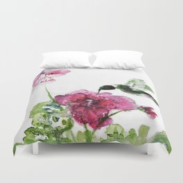 Razzberry Hummingbird watercolour by CheyAnne Sexton Duvet Cover