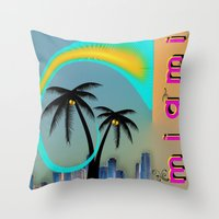 miami Throw Pillows featuring Miami by Dunksauce Art