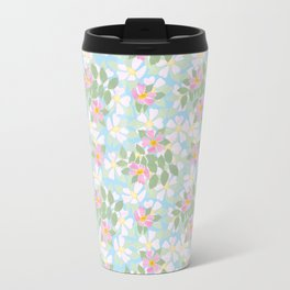 Pink Dogroses on Sky Blue Travel Mug