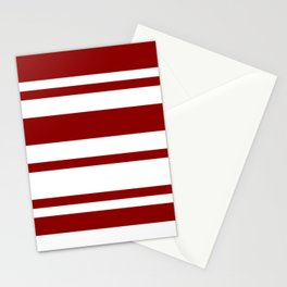 Mixed Horizontal Stripes - White and Dark Red Stationery Cards
