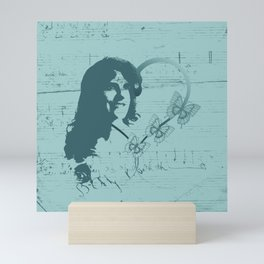Silhouette Female Soprano Opera Singer, Handwritten Scales, Music, Hearts and Butterflies on Teal Mini Art Print