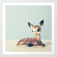fawn Art Prints featuring Fawn by Hilary Upton