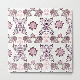 Boho Pink Elephants Metal Print