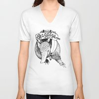 backpack V-neck T-shirts featuring Baggage Armadillo by Nat Osorio