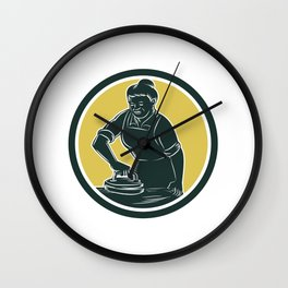 African American Woman Ironing Clothes Woodcut Wall Clock