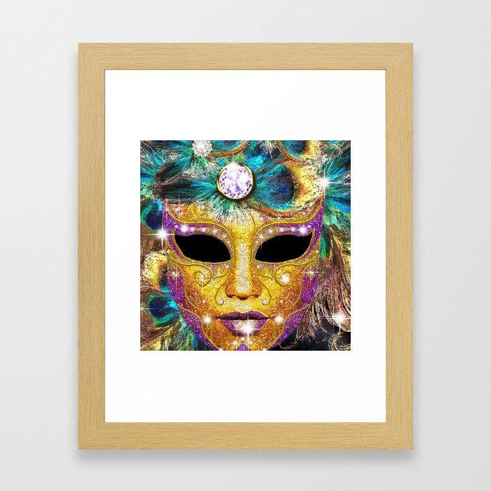 Golden Carnival Mask Framed Art Print