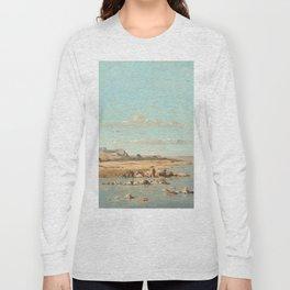 Paul Guigou Washerwomen on the Banks of the Durance 1866 Painting Long Sleeve T-shirt