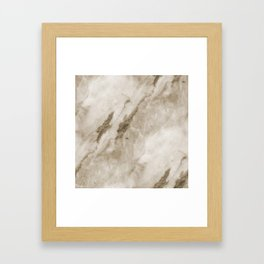 Classic Brown White Marble Rock Real Stone Framed Art Print